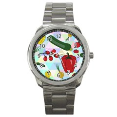 Vegetables Cucumber Tomato Sport Metal Watch
