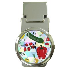 Vegetables Cucumber Tomato Money Clip Watches by Nexatart