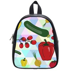 Vegetables Cucumber Tomato School Bags (small)  by Nexatart