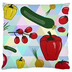 Vegetables Cucumber Tomato Large Cushion Case (two Sides) by Nexatart