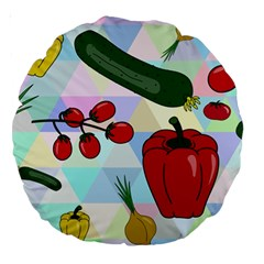 Vegetables Cucumber Tomato Large 18  Premium Round Cushions by Nexatart