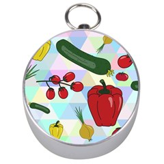 Vegetables Cucumber Tomato Silver Compasses by Nexatart