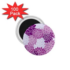 Floral Wallpaper Flowers Dahlia 1 75  Magnets (100 Pack)  by Nexatart