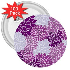 Floral Wallpaper Flowers Dahlia 3  Buttons (100 Pack)  by Nexatart