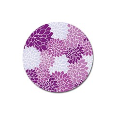 Floral Wallpaper Flowers Dahlia Magnet 3  (round)