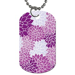 Floral Wallpaper Flowers Dahlia Dog Tag (two Sides) by Nexatart