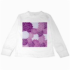 Floral Wallpaper Flowers Dahlia Kids Long Sleeve T Shirts