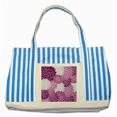 Floral Wallpaper Flowers Dahlia Striped Blue Tote Bag by Nexatart