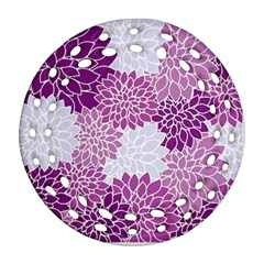 Floral Wallpaper Flowers Dahlia Ornament (round Filigree)