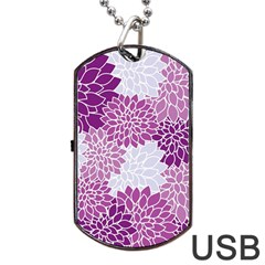 Floral Wallpaper Flowers Dahlia Dog Tag Usb Flash (two Sides) by Nexatart