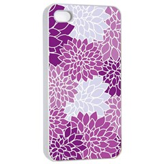 Floral Wallpaper Flowers Dahlia Apple Iphone 4/4s Seamless Case (white)