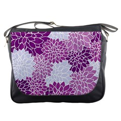 Floral Wallpaper Flowers Dahlia Messenger Bags