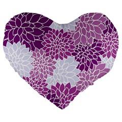 Floral Wallpaper Flowers Dahlia Large 19  Premium Heart Shape Cushions by Nexatart