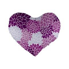 Floral Wallpaper Flowers Dahlia Standard 16  Premium Flano Heart Shape Cushions