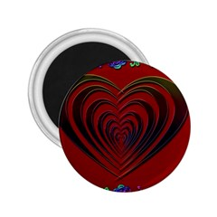 Red Heart Colorful Love Shape 2 25  Magnets by Nexatart