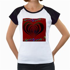 Red Heart Colorful Love Shape Women s Cap Sleeve T