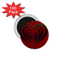 Red Heart Colorful Love Shape 1 75  Magnets (100 Pack)