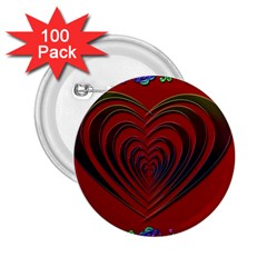 Red Heart Colorful Love Shape 2 25  Buttons (100 Pack)