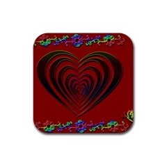 Red Heart Colorful Love Shape Rubber Coaster (square)  by Nexatart