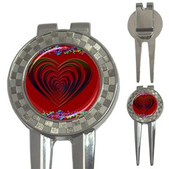 Red Heart Colorful Love Shape 3 In 1 Golf Divots by Nexatart