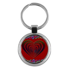 Red Heart Colorful Love Shape Key Chains (round)  by Nexatart