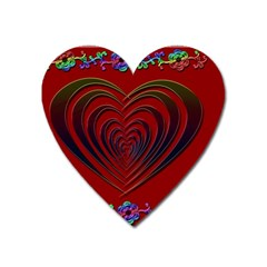 Red Heart Colorful Love Shape Heart Magnet by Nexatart