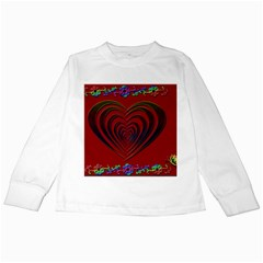 Red Heart Colorful Love Shape Kids Long Sleeve T Shirts