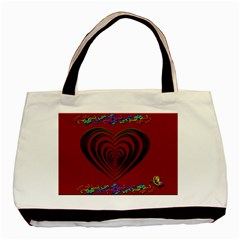 Red Heart Colorful Love Shape Basic Tote Bag by Nexatart