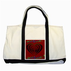 Red Heart Colorful Love Shape Two Tone Tote Bag