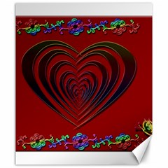 Red Heart Colorful Love Shape Canvas 20  X 24