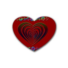 Red Heart Colorful Love Shape Rubber Coaster (heart)