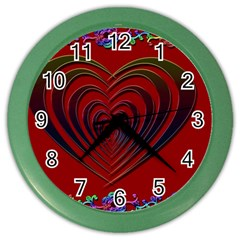 Red Heart Colorful Love Shape Color Wall Clocks