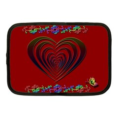 Red Heart Colorful Love Shape Netbook Case (medium)