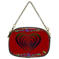 Red Heart Colorful Love Shape Chain Purses (two Sides)  by Nexatart