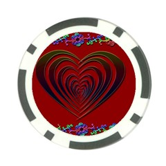 Red Heart Colorful Love Shape Poker Chip Card Guard (10 Pack)