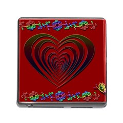 Red Heart Colorful Love Shape Memory Card Reader (square) by Nexatart