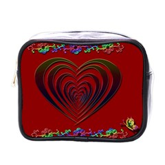 Red Heart Colorful Love Shape Mini Toiletries Bags by Nexatart