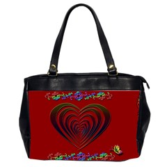 Red Heart Colorful Love Shape Office Handbags (2 Sides)  by Nexatart