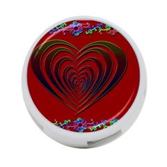 Red Heart Colorful Love Shape 4 Port Usb Hub (one Side) by Nexatart
