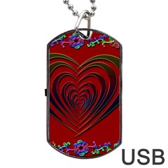 Red Heart Colorful Love Shape Dog Tag Usb Flash (one Side) by Nexatart