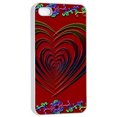 Red Heart Colorful Love Shape Apple Iphone 4/4s Seamless Case (white)