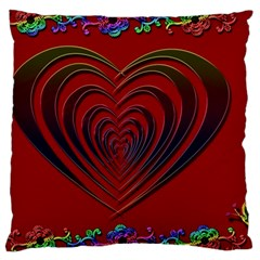 Red Heart Colorful Love Shape Large Cushion Case (two Sides)