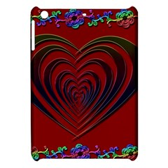 Red Heart Colorful Love Shape Apple Ipad Mini Hardshell Case by Nexatart