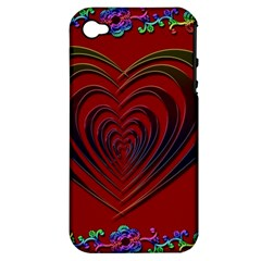 Red Heart Colorful Love Shape Apple Iphone 4/4s Hardshell Case (pc+silicone) by Nexatart