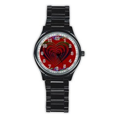Red Heart Colorful Love Shape Stainless Steel Round Watch