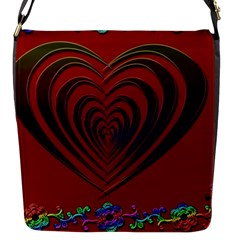 Red Heart Colorful Love Shape Flap Messenger Bag (s)