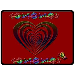 Red Heart Colorful Love Shape Double Sided Fleece Blanket (large)  by Nexatart