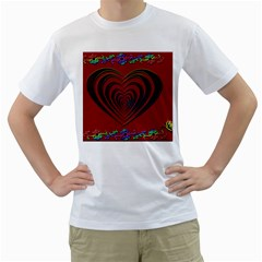Red Heart Colorful Love Shape Men s T Shirt (white)