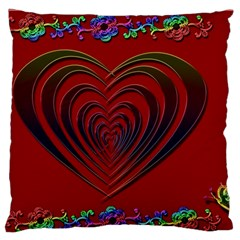 Red Heart Colorful Love Shape Large Flano Cushion Case (two Sides) by Nexatart