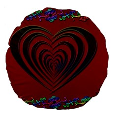 Red Heart Colorful Love Shape Large 18  Premium Flano Round Cushions by Nexatart